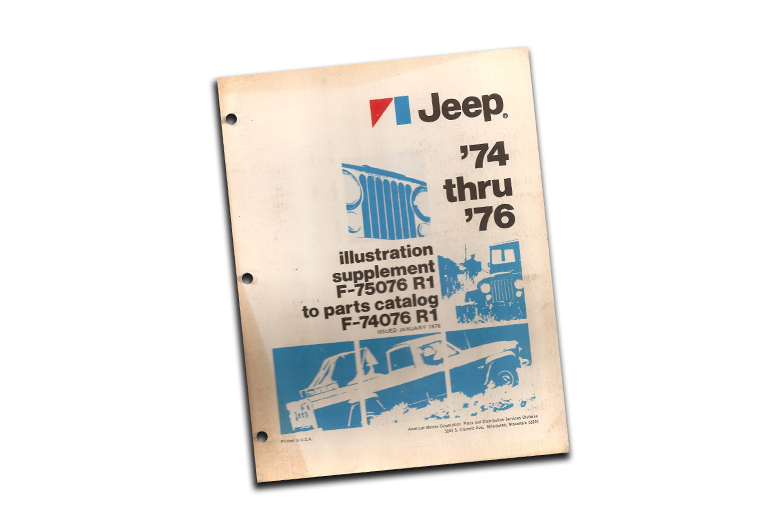 Supplement to F74076, Parts Catalog for 1974 through 1976 Jeep