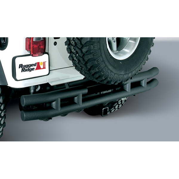 REAR TUBE BUMPER WITH HITCH, BLACK TEXTURED, 87-06 JEEP WRANGLER/UNLIMITED (TWO BOXES)