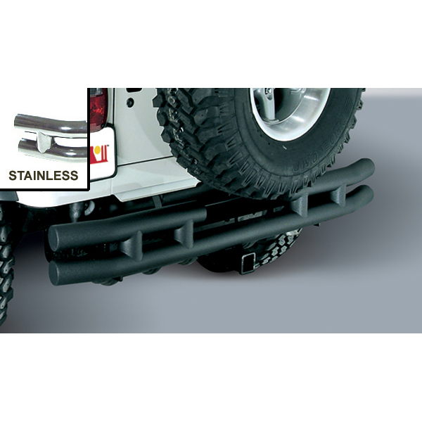 REAR TUBE BUMPER WITH HITCH STAINLESS, 87-06 WRANGLER/UNLIMITED