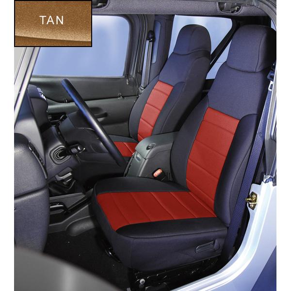 NEOPRENE SEAT COVER, RUGGED RIDGE,  FRONTS (PAIR), TAN, 91-95 WRANGLER