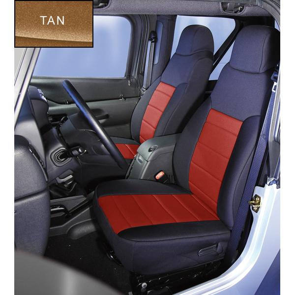 NEOPRENE SEAT COVER, RUGGED RIDGE,  FRONTS (PAIR), TAN, 03-06 WRANGLER