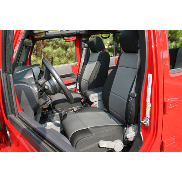 SEAT COVER FRONT BLACK / GRAY JK 07-08 WITH ABS FLAP