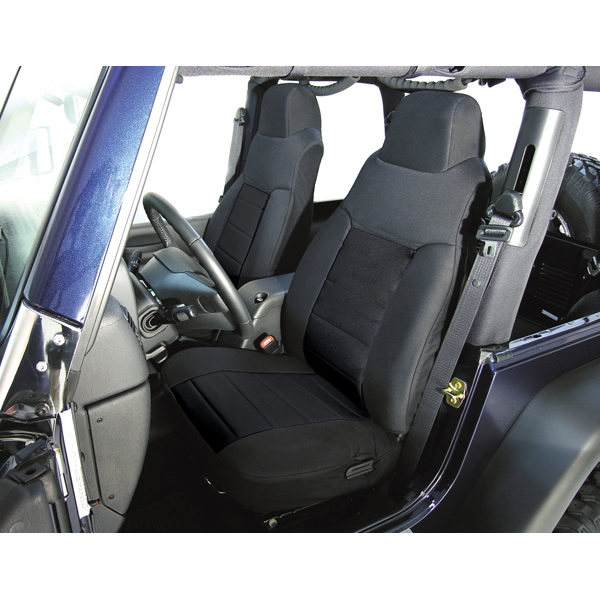 SEAT COVER, RUGGED RIDGE, FABRIC FRONTS (PAIR), BLACK, 76-90 WRANGLER