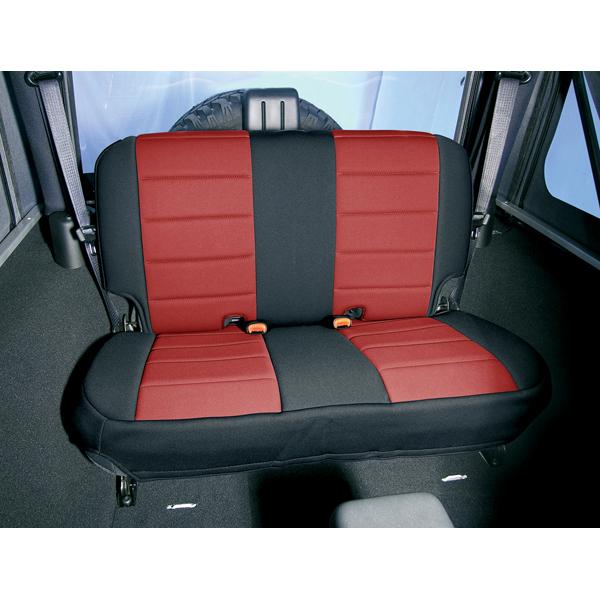 NEOPRENE SEAT COVER, RUGGED RIDGE,  REAR, RED, 80-95 WRANGLER