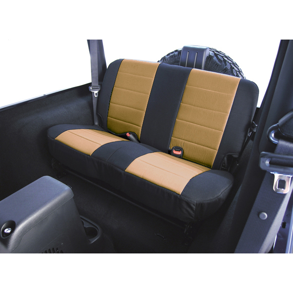 SEAT COVER, RUGGED RIDGE, FABRIC REAR, TAN, 80-95 WRANGLER
