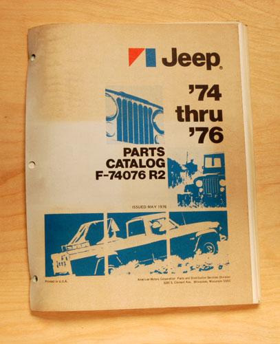 1974 through 1976 AMC Jeep Parts Catalog revision 1