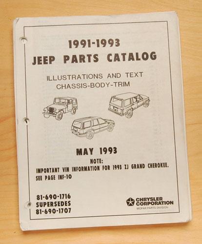 Jeep Parts List 1991-93