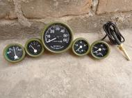 """New Replacement Gauge kit  12 Volt Olive Green Bezels This Gauge  Kit fits Willy's M Series Jeeps, MB, GPW, CJ2A, CJ3A and early CJ3B and many more military Trucks & Jeeps  Speedo - mechanical fits 3 11/32"""" hole with 5/8"""" Thread Temp  - mechanical fits 2 1/16"""" hole with 72"""" Capillary tube Oil  - mechanical fits 2 1/16"""" hole with 1/8 NPT Thread Amp -  fits 2 1/16""""  hole  Fuel - fits 2 1/16"""" hole"""