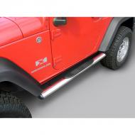 """TUBE STEPS, RUGGED RIDGE, 4 1/4-INCH OVAL STAINLESS STEELS FOR JEEP 07-09 WRANGLER JK 2-DOORTube steps for the new 2007-08 Wrangler are custom designed for the oversized features of this hot new vehicle. Unlike smaller tube designs, these large oval tubes provide a much cleaner look and are not """"dwarfed"""" by oversized tires and body large oval tubes provide a much cleaner look and are not """"dwarfed"""" by oversized tires and body style. Rugged Ridge Stainless Tube Steps feature prime 304L, .05"""" wall stainless tubing polished to a mirror finish. The polishing process for a Rugged Ridge step is longer and deeper pulling out the deepest shine from the steel. A true -deep polish-! All Rugged Ridge Tube steps feature no-drill installation for ease of installation and a truly custom fit. All Tube Step Installation  brackets are constructed of durable 3/16"""" powdercoated steel for long life and years of flex-free use. Each Tube Step features special UV treated no-slip step pads with 5 mounting pins. These step pads are installed on top of the tube - no exposed metal to rust.          Replaces: 11593.07Made in CHINAUPC: 804314117290Label: SIDE STEP 2DR SS JK OVL 07-09"""