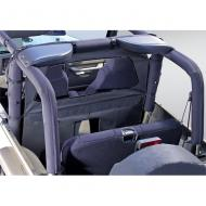 ROLL BAR CURTAIN, BLACK DENIM, 80-06 JEEP WRANGLER, UNLIMITED & CJProvides protection from dust, rain and other debris from entering the cab of your Jeep and also keeps heat in during the cold winter months. Easily attaches to the sport bar with durable nylon straps. Constructed of durable soft top Easily attaches to the sport bar with durable nylon straps. Constructed of durable soft top fabric that matches other Rugged Ridge Accessories. Special rear opening allows for easy access to cargo area: zips open and closed. DOT approved rear glass allows for rear visibility.                     Replaces: 13552.15Made in CHINAUPC: 804314120702Label: CURTAIN,ROLL BAR 80-06 BLK DEN
