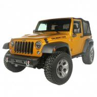 All Terrain Modular Front Bumper, 07-14 Wrangler 11542.02 All Terrain Stubby Bumper Ends, 07-14 Wrangler 11542.23 D-Shackle Set, 3/4-inch 11235.01 Grille Inserts, Black, 07-14 Wrangler 11306.30 Locking Gas Cap Door, Black, 07-14 Wrangler 11229.03 Aluminum Hood Catches, Black, 07-14 Wrangler 11210.11 Budget Boost w/ Shocks 18360.22 Drakon Alloy Wheel, Satin Black, 17x9, 07-14 Wrangler* 15302.01 Front Floor Liner, Black, 07-14 Wrangler 12920.03 Rear Floor Liner, 07-14 Wrangler (2-door or 4-door) 12950.02/ 12950.01 Mickey Thompson Baja ATZ Tire, 33-inch
