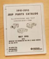 Illustration and Text parts catalog for 1991-1993 Jeep. This is an original. Not a replica.