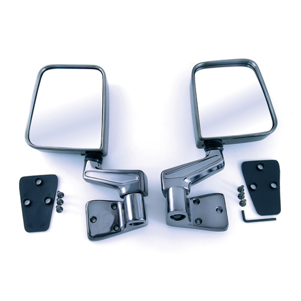 SIDE MIRROR PAIR, BLACK CHROME, 87-02 WRANGLER WITH FACTORY HALF DOORS & 97-02 FULL DOORS