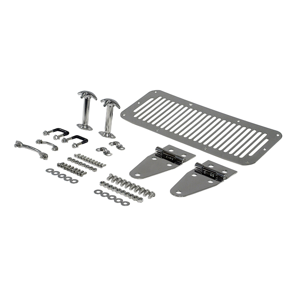 COMPLETE HOOD KIT, 76-95 JEEP CJ & WRANGLER, STAINLESS