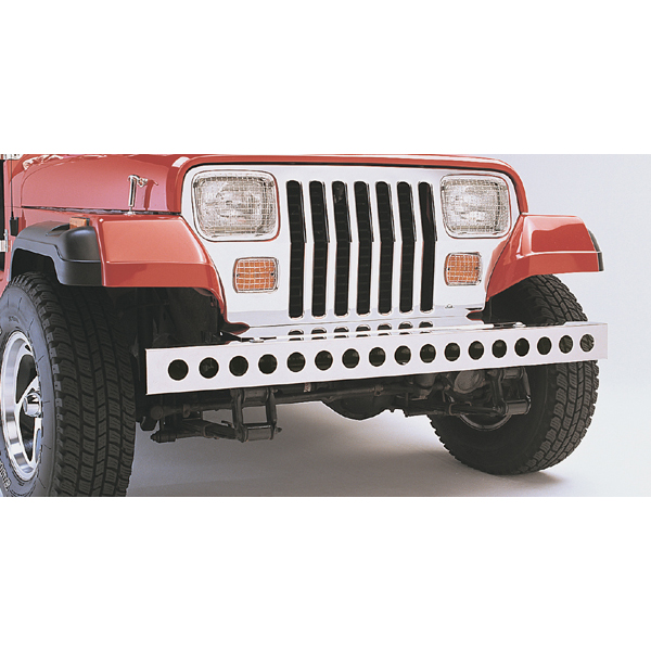 FRONT BUMPER WITH HOLES, STAINLESS, 87-95 WRANGLER