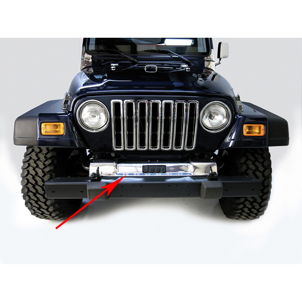 FRONT FRAME COVER, STAINLESS, 97-06 WRANGLER INCLUDING WRANGLER UNLIMITED. HAS CUTOUT FOR STOCK JEEP LETTERING.