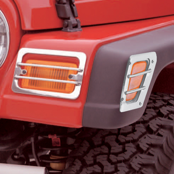 FRONT SIDE MARKER AND PARK EURO GUARDS, STAINLESS, 98-06 WRANGLER/UNLIMITED (4 PIECES)