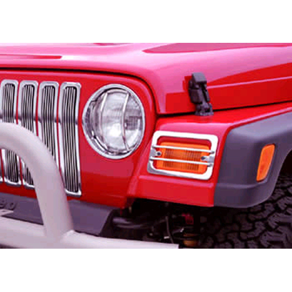 FRONT, HEADLIGHT AND TURN SIGNAL GUARDS, STAINLESS, 87-95 WRANGLER (4 PIECES)