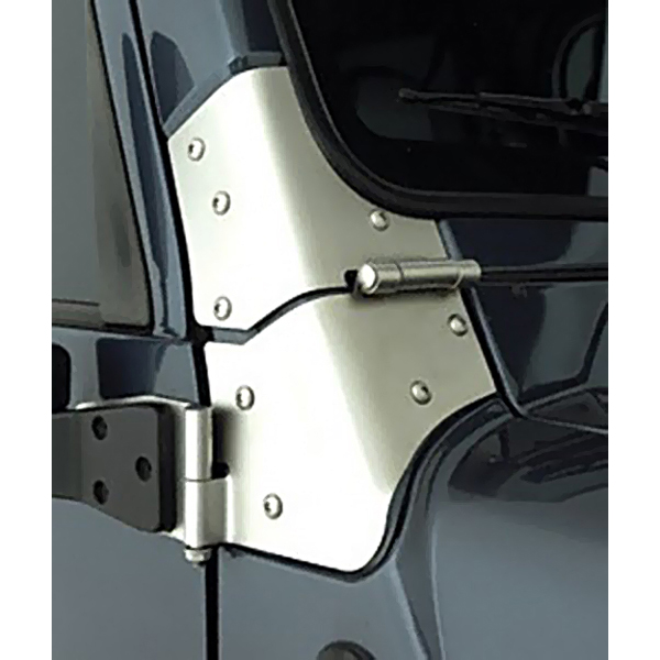 WINDSHIELD HINGE PAIR, SATIN STAINLESS, 76-95 CJ / WRANGLER