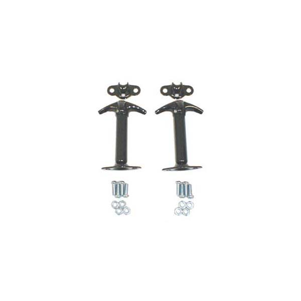 HOOD WINDSHIELD CATCH PAIR, VERTICAL MOUNT, 45-63 JEEP CJ, BLACK
