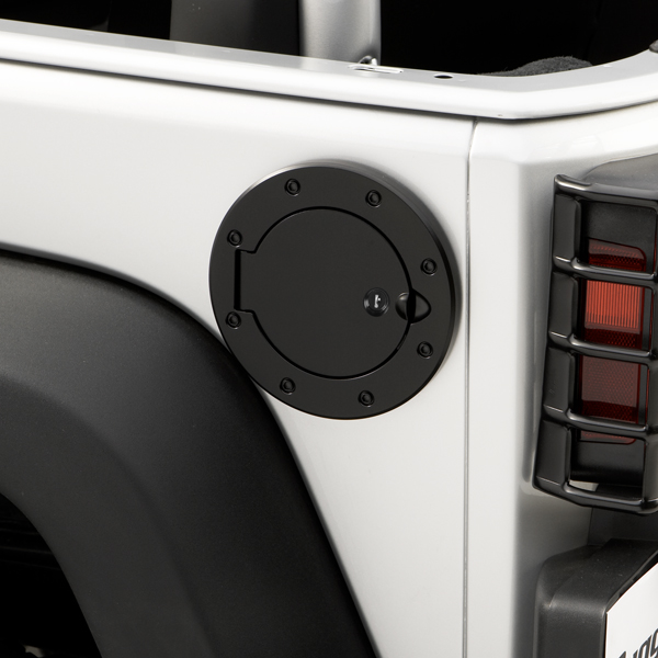 FUEL COVER LOCKING, BLACK STAINLESS STEEL,RUGGED RIDGE, JK WRANGLER 07-09