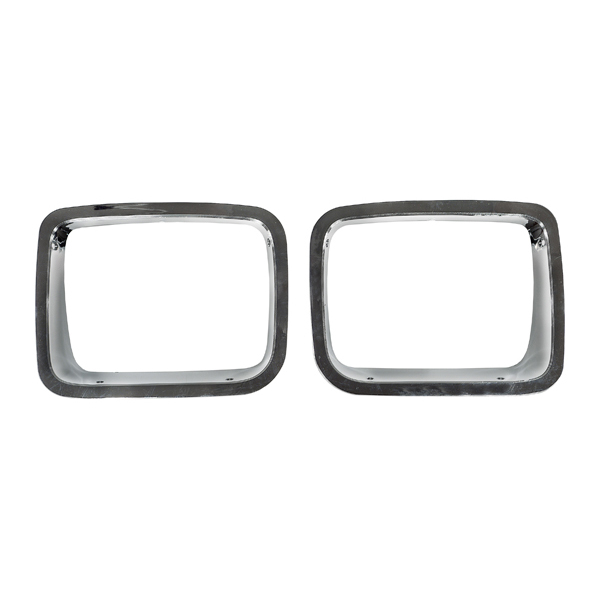 HEADLIGHT BEZEL PAIR, CHROME TRIM, 87-95 JEEP WRANGLER
