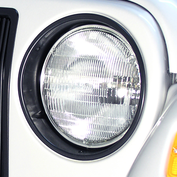 HEADLIGHT BEZEL PAIR, BLACK TRIM, 97-06 JEEP WRANGLER/UNLIMITED