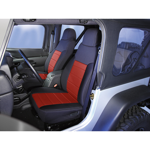 NEOPRENE SEAT COVER, RUGGED RIDGE,  FRONTS (PAIR), RED, 03-06 WRANGLER