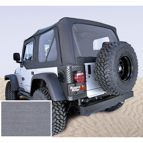 SOFT TOP, RUGGED RIDGE, FACTORY REPLACEMENT WITH DOOR SKINS, 88-95 WRANGLER, CHARCOAL