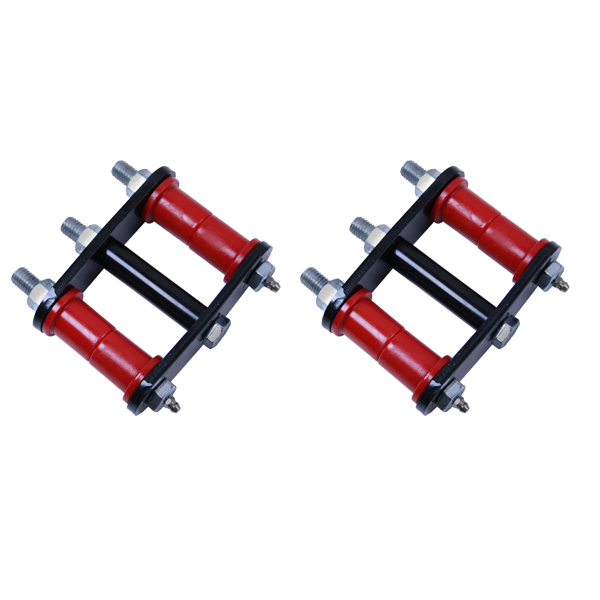 HEAVY DUTY SHACKLE PAIR, 76-86 CJ REAR, GREASABLE WITH RED BUSHINGS