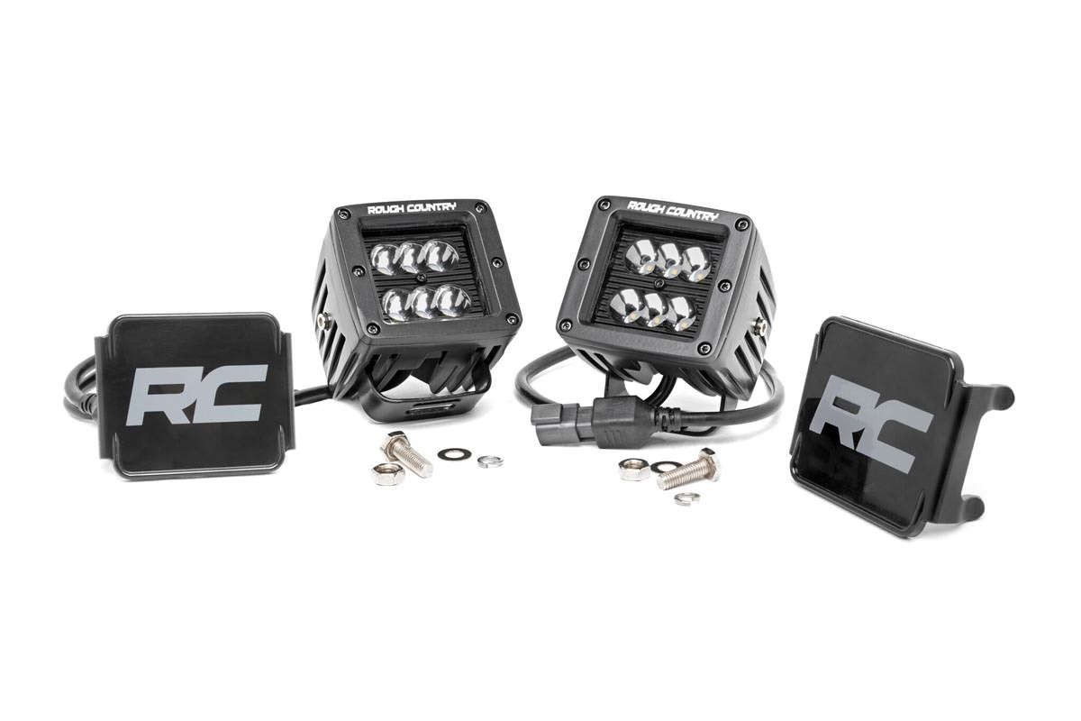 2in Square Rough Country CREE Black Series LED Fog Lights