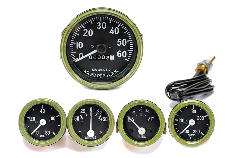 Set Of 5 Gauges - Speedo, Oil, Temp, Amp, Fuel