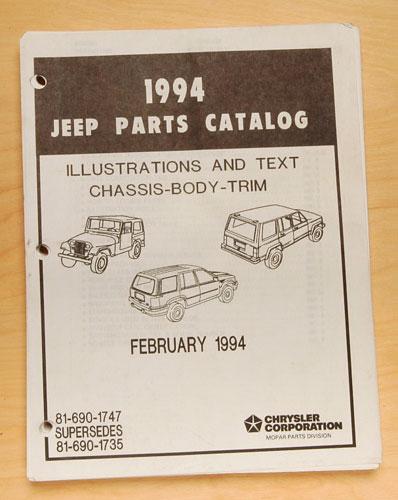 Jeep Parts List 1994