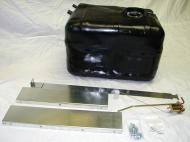"""1978-1986 Jeep CJ 21 gallon tank. Includes skid plate extensions, new sending unit, lock ring and O-ring, and new top strap .Use of inline fuel filter is recommended. Not compatible with Jeep Scrambler. Dimensions 23\"""" x 16\"""" x 15\""""."""