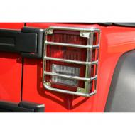 TAIL LIGHT EURO GUARDS POLISHED STAINLESS STEEL 07-09 JK WRANGLER PAIRSpecial design actually contours the rear taillight of your 2007-08 Wrangler. Custom fit to install directly into factory mounting points for ease of installation and secure attachments. Rubber inserts around the mounting screws keep the ease of installation and secure attachments. Rubber inserts around the mounting screws keep the metal euro guard off the taillight, prevents scratching and rattles.                       Replaces: 11103.03Made in TAIWANUPC: 804314115814Label: TAIL LIGHT GUARD EURO SS JK