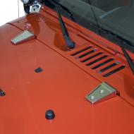 HOOD HINGE COVER, RUGGED RIDGE, STAINLESS STEEL JK WRANGLER 07-09 PAIRThese cast stainless design Hinge Treatments are guaranteed not to rust while providing a new beefy look. Door and Hood Hinge covers feature a easy-to-install design. Replacing your existing hinges can break & crack the surrounding paint, as easy-to-install design. Replacing your existing hinges can break & crack the surrounding paint, as the hinges were painted at the factory after installation. These covers retain the stock hinge but give it a new look without harming your expensive paint. Door and Hood Hinge. A direct bolt on - no drilling required, fits either side. Sold as a pair.                   Replaces: 11111.10Made in CHINAUPC: 804314160029Label: HOOD HINGE COVR SS JK PR 07-09
