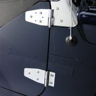 WINDSHIELD HINGES, 97-06 JEEP WRANGLER, STAINLESS All Rugged Ridge Stainless Accessories are constructed of prime 304 stainless steel polished to a mirror finish for the best looking, longest lasting product found on the market today.  lasting product found on the market today.                          Replaces: 7493Made in TAIWANUPC: 804314001759Label: 11112.02 HINGE W/S PR SS TJ