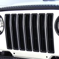 GRILLE INSERTS, BLACK TRIM, 97-06 JEEP WRANGLER/UNLIMITEDDurable UV treated inserts enhance the front of your Jeep. These inserts add great styling and a unique appearance. All Rugged Ridge inserts easily install without drilling or tools. Just click them in and go! install without drilling or tools. Just click them in and go!                         Replaces: 11306.03Made in TAIWANUPC: 804314116217Label: GRILLE INSERT KIT, BLK TJ F9