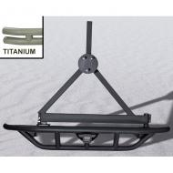 RRC REAR BUMPER WITH TIRE CARRIER, TITANIUM, 87-06 JEEP WRANGLER/UNLIMITEDSHIPS IN TWO BOXES This RRC rear bumper has a frame mounted platform that features a heavy duty grid like system with raised sides for the ultimate protection and greatest ground clearance. All RRC rear bumpers raised sides for the ultimate protection and greatest ground clearance. All RRC rear bumpers feature a reinforced hitch box that is designed for offroad accessories (not designed for towing). The titanium-color finish gives a custom look like no other. The heavy duty rear tire carrier mounts your tire off the rear bumper taking the load off your tailgate. With a reinforced grease fitting and special latching mechanism, this tire carrier is capable of holding up to a 35-inch oversized  tire.               Replaces: 11503.14Made in TAIWANUPC: 804314116460Label: BUMPER REAR TNM W/ CARR YJ TJ