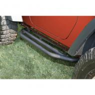 """SIDE ARMOR 2-DOOR TEXTURED BLACK JK WRANGLER 07-08 PAIRKeep your rocker panels from being beaten to a pulp on the trail with Rugged Ridge's Side Armor. Built from heavy-duty 2"""" x 0.120"""" black texture powdercoated steel tubing, these guards will take the beating that was meant for your body powdercoated steel tubing, these guards will take the beating that was meant for your body sheetmetal. Simple bolt-on design utilizes existing body mount locations for a secure, rattle free installation. The black texture finish resists scratches and gives a slip-resistant surface for door entry. Sold as a pair and includes all necessary installation hardware. Will fit Rubicon models, but factory rocker guard must be removed.                 Replaces: 11504.21Made in CHINAUPC: 804314116583Label: SIDE ARMOR 2DR BLK JK 07-09 PR"""