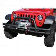 BUMPER FRONT TUBE, RUGGED RIDGE, GLOSS BLACK  WITH WINCH-CUT-OUT JK 07-09Includes winch plate.                               Replaces: 11560.11Made in CHINAUPC: 804314116750Label: BUMPER FRT TUBE JK 07-09 WINCH