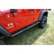 """TUBE STEPS, RUGGED RIDGE, 3-INCH ROUNDSTEEL BLACK TEXTURED FOR JEEP 07-09 WRANGLER JK 4-DOORTube steps for the new 2007-08 Wrangler are custom designed for the oversized features of this hot new vehicle. Unlike smaller tube designs, these large round tubes provide a much cleaner look and are not """"dwarfed"""" by oversized tires and body large round tubes provide a much cleaner look and are not """"dwarfed"""" by oversized tires and body style. Rugged Ridge painted steel Tube Steps feature special E-coated, .07"""" wall steel that is thick source powdercoated for a tough chip resistant finish. The special E-coat undercoating provides double rust protection as it bonds to the metal creating a protective layer found no where else. All Rugged Ridge Tube steps feature no-drill installation for ease of installation and a truly  custom fit. All Tube Step Installation brackets are constructed of durable 3/16"""" powdercoated steel for long life and years of flex-free use. Each Tube Step features special UV treated no-slip step pads with 5 mounting pins. These step pads are installed on top of the tube - no exposed metal to rust.         Replaces: 11591.06Made in CHINAUPC: 804314117184Label: SIDE STEP 3-IN 4DR JK TEX BLK"""