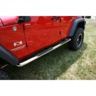 """TUBE STEPS, OUTLAND, 3-INCH ROUND STAINLESS STEEL FOR JEEP 07-09 WRANGLER JK 4-DOORTube steps for the new 2007-08 Wrangler are custom designed for the oversized features of this hot new vehicle. Unlike smaller tube designs, these large round tubes provide a much cleaner look and are not """"dwarfed"""" by oversized tires and body large round tubes provide a much cleaner look and are not """"dwarfed"""" by oversized tires and body style. Rugged Ridge Stainless Tube Steps feature prime 304L, .05"""" wall stainless tubing polished to a mirror finish. The polishing process for a Rugged Ridge step is longer and deeper pulling out the deepest shine from the steel. A true -deep polish-! All Rugged Ridge Tube steps feature no-drill installation for ease of installation and a truly custom fit. All Tube Step Installation  brackets are constructed of durable 3/16"""" powdercoated steel for long life and years of flex-free use. Each Tube Step features special UV treated no-slip step pads with 5 mounting pins. These step pads are installed on top of the tube - no exposed metal to rust.          Replaces: 11593.06Made in CHINAUPC: 804314117283Label: SIDE STEP 3 SS 4DR JK 07-08"""