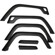 FENDER FLARE KIT, 6-PIECE, 97-06 TJ WITH HARDWARERugged Ridge provides the most comprehensive replacement Fender Flare program on the market today. Covering model years starting in 1955 until current, Rugged Ridge has you covered when it is time to replace or upgrade your Factory Fender current, Rugged Ridge has you covered when it is time to replace or upgrade your Factory Fender Flares. Each flare is constructed of virtually indestructible, durable, UV treated thermoplastic to provide years of service. Each replacement flare is designed to fit into your factory mounting holes (some models may require some hole relocation) for ease of installation. This is a 6-piece kit with hardware.                  Replaces: 4207Made in TAIWANUPC: 804314000424Label: 11603.01 FLARE KIT 6PC TJ