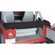 SOFT TOP STORAGE BOOT, BLACK DENIM, 92-06 YJ & TJ WRANGLERProtect your soft top when it is folded down. Keeps soft top close by in case of those sudden showers. Designed to be used with the windows zipped out.  zipped out.                          Replaces: 600015Made in CHINAUPC: 804314008628Label: 12104.15 BOOT STORAGE S/TOP BL
