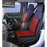 NEOPRENE SEAT COVER, RUGGED RIDGE,  FRONTS (PAIR), GRAY, 03-06 WRANGLERCustom Fit Neoprene Seat Covers. These covers are constructed of durable neoprene creating the best looking custom seat cover available. Rugged Ridge does not use that cheap stretch nylon on their seat covers! Neoprene (wet suit material) is a does not use that cheap stretch nylon on their seat covers! Neoprene (wet suit material) is a great fabric to protect your seats from dirt, water and whatever mother nature can throw at you. No more burned legs from hot vinyl seats! Each cover is custom tailored for your Jeep's original equipment seat style making your seats look like they have been recently reupholstered. Installation is easy with special designed elastic cords, nylon straps and hooks that attach to your  seat and to the seat cover mounting points. 2003-2006 models have the center section stop before the headrest.             Replaces: 13213.09Made in CHINAUPC: 804314119225Label: COVER,NP SEAT FR PR 03-06 F9