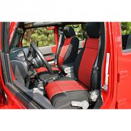 SEAT COVER FRONT BLACK / RED JK 07-08 WITH ABS FLAP