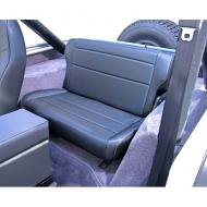 """FOLD & TUMBLE REAR SEAT, RUGGED RIDGE, BLACK, 86-95 JEEP CJ & WRANGLERNeed more rear storage space in the back of your Jeep? Simply """"fold and tumble"""" the Rugged Ridge Rear Fold and Tumble Seat and you create instant cargo space. Each seat is constructed of durable automotive grade vinyl that is designed to match cargo space. Each seat is constructed of durable automotive grade vinyl that is designed to match your vehicles interior and all Rugged Ridge front seats. Each frame is powdercoat painted and welded to make sure it can take those off road adventures. The foam pack used on all Rugged Ridge Seats is extremely dense for long life yet soft enough for true comfort. Installation is easy with attachments to existing mounting points and minimal drilling required.                 Replaces: 13462.01Made in CHINAUPC: 804314120498Label: 41301 SEAT REAR F&T BLK CJ-YJ"""