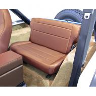"""FOLD & TUMBLE REAR SEAT, RUGGED RIDGE, TAN, 86-95 JEEP CJ & WRANGLERNeed more rear storage space in the back of your Jeep? Simply """"fold and tumble"""" the Rugged Ridge Rear Fold and Tumble Seat and you create instant cargo space. Each seat is constructed of durable automotive grade vinyl that is designed to match cargo space. Each seat is constructed of durable automotive grade vinyl that is designed to match your vehicles interior and all Rugged Ridge front seats. Each frame is powdercoat painted and welded to make sure it can take those off road adventures. The foam pack used on all Rugged Ridge Seats is extremely dense for long life yet soft enough for true comfort. Installation is easy with attachments to existing mounting points and minimal drilling required.                 Replaces: 13462.04Made in CHINAUPC: 804314120504Label: 41304 SEAT REAR F&T TAN CJ-YJ"""