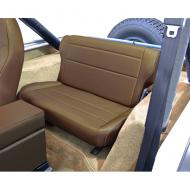"""FOLD & TUMBLE REAR SEAT, RUGGED RIDGE, NUTMEG, 86-95 JEEP CJ & WRANGLERNeed more rear storage space in the back of your Jeep? Simply """"fold and tumble"""" the Rugged Ridge Rear Fold and Tumble Seat and you create instant cargo space. Each seat is constructed of durable automotive grade vinyl that is designed to match cargo space. Each seat is constructed of durable automotive grade vinyl that is designed to match your vehicles interior and all Rugged Ridge front seats. Each frame is powdercoat painted and welded to make sure it can take those off road adventures. The foam pack used on all Rugged Ridge Seats is extremely dense for long life yet soft enough for true comfort. Installation is easy with attachments to existing mounting points and minimal drilling required.                 Replaces: 13462.07Made in CHINAUPC: 804314120511Label: 41307 SEAT REAR F&T NUTMEG C-Y"""